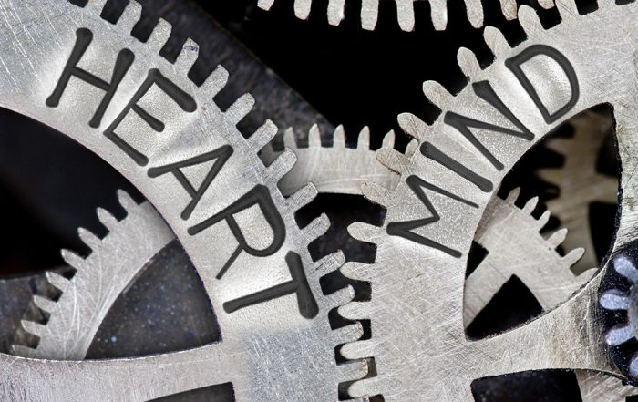 Intelligence-Mind Heart gears Macro photo of tooth wheel mechanism with imprinted HEART, MIND concept words