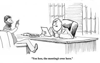Nesso Results Behavior Accountability Business cartoon about a worker focused on his cell phone, not the meeting he is in.