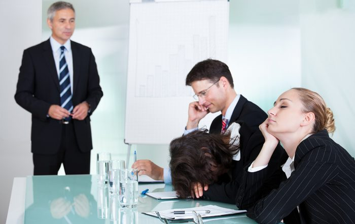 Collaboration and Conspiring-Bored Businesswoman Sleeping In A Meeting