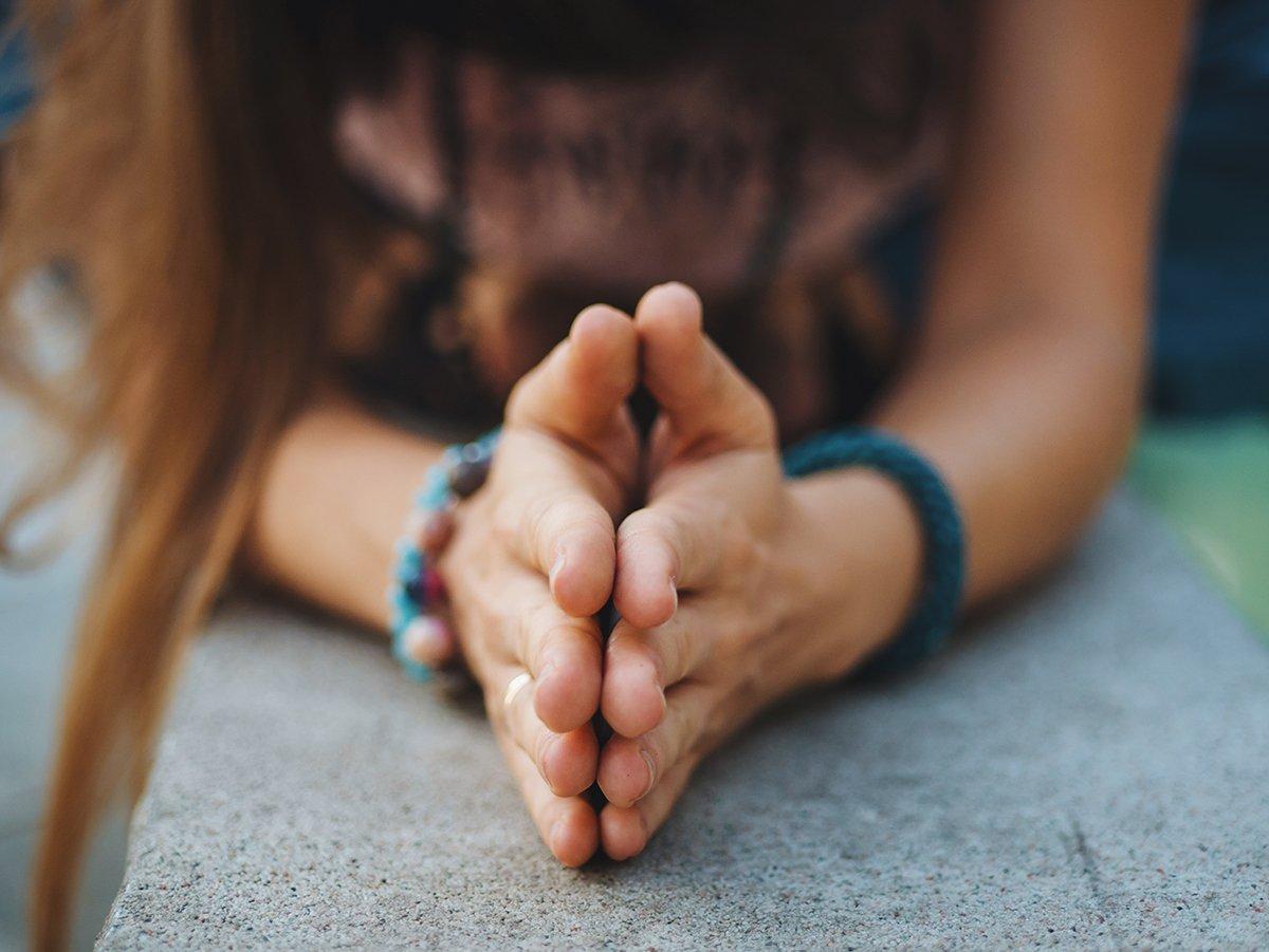 Gratitude A Full Body Practice Woman hands together symbolizing prayer and gratitude. Mudra. Yoga concept.