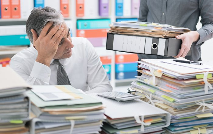 Nesso Paper Productivity Organizing Stressed Businessman Working At Office Desk And Overloaded With