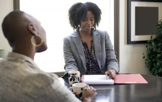 Conflict Lessons for Grizzle Worried Client Applying for a Loan or Businesswoman in a Meeting